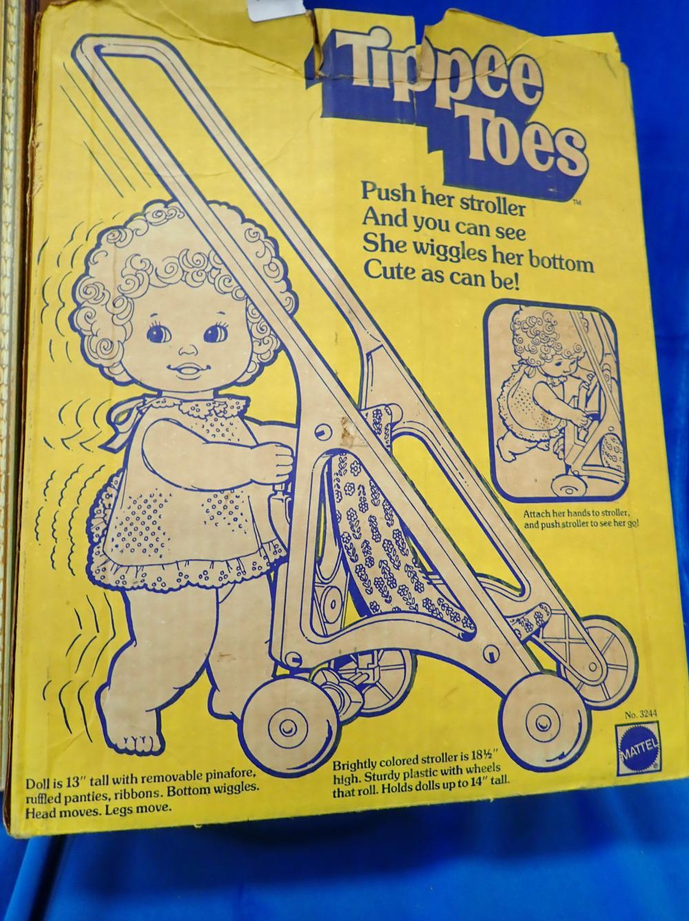 TIPPEE TOES DOLL 3242 `980 BY MATTEL, HAS HAD VERY LITTLE USE ORIGINAL BOX & INSTRUCTIONS, HEAD & BOTTOM WIGGLES WHEN PUSHED & LA COLLECTION DOLL BY REGAL TOY CANADA IN ORIGINAL PACKAGING & BOX
