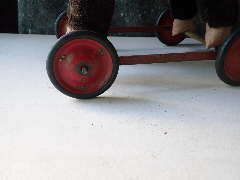 """CHILTERN PUSH DOG CART MISSING NUT ON WHEEL 22"""" HIGH AND LONG WITH A 15"""" BRAVO APPLAUSE BEAR MADE IN KOREA"""