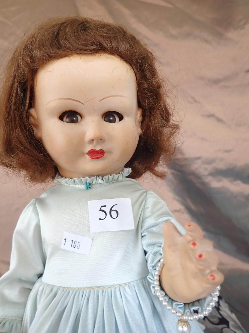 """18"""" VINTAGE VERNE MADE IN AUSTRALIA HARD PLASTIC DOLL WITH SPEAKER, FLIRTING BROWN EYES, NICELY DRESSED, GOOD CONDITION"""