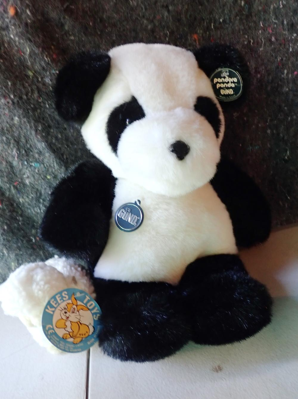 """REPRODUCTION DOLLS PRAM VIC STYLE 29"""" LONG 31"""" HIGH CANE BASKET WITH MATERIAL TOP METAL BASE WITH (1) 14"""" PANDORA PANDA BY GUND COLLECTORS CLASSIC LTD EDT MADE IN KOREA (2) CE KEES TOY 4"""" SHEEP (3) JACK IN BOX 10"""""""