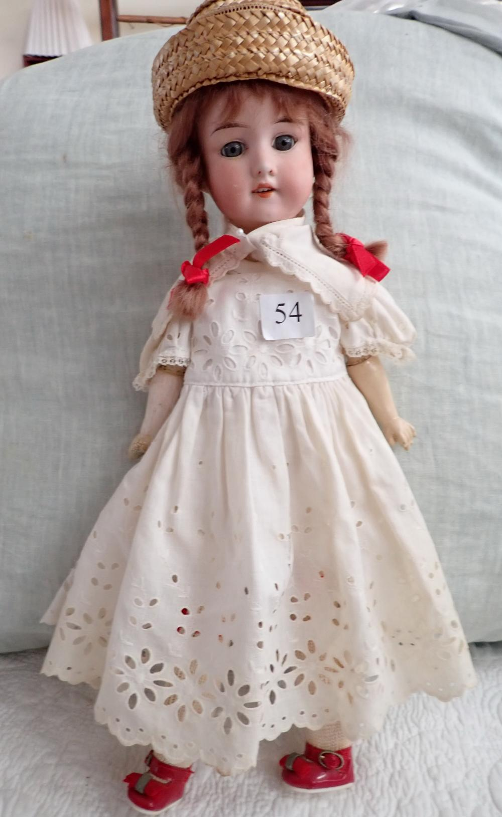 "PORCELAIN 17"" AM 390 DRGM 246/ AO 1/2 M DOLL, FAULTS WITH HANDS, JOINTED ARMS & LEGS, NO. 65 MARKED ON COMPOSITION BODY"