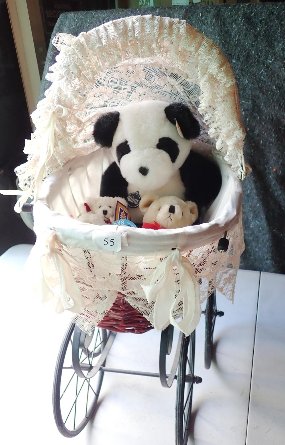 "REPRODUCTION DOLLS PRAM VIC STYLE 29"" LONG 31"" HIGH CANE BASKET WITH MATERIAL TOP METAL BASE WITH (1) 14"" PANDORA PANDA BY GUND COLLECTORS CLASSIC LTD EDT MADE IN KOREA (2) CE KEES TOY 4"" SHEEP (3) JACK IN BOX 10"""