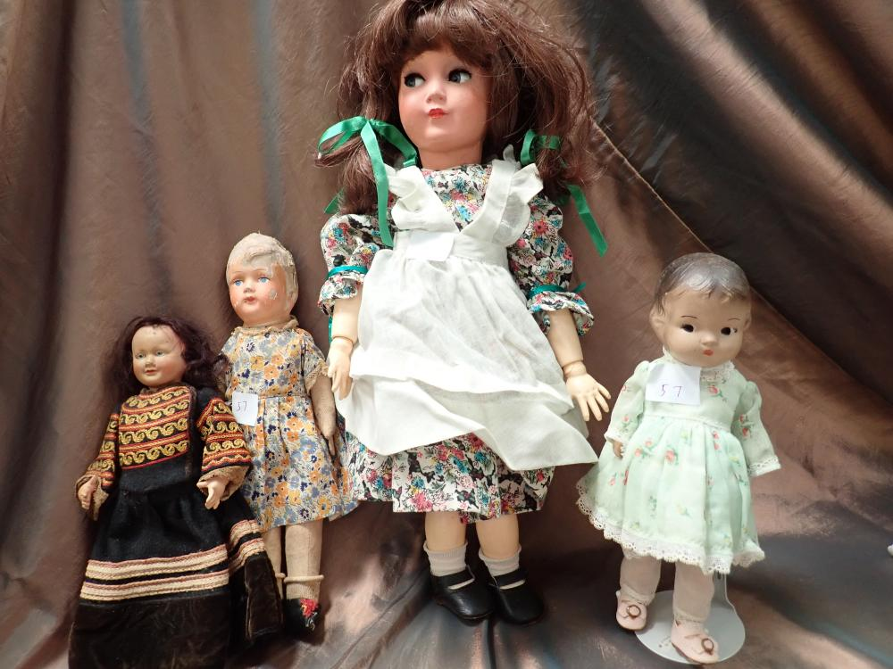 """4 DOLLS (1) 18"""" SUNNY GIRL DOLL RHEINISCHE GUMMI (TURTLE MARK) 350/45 BACK OF HEAD CRACKED & PIECE MISSING ALL JOINT BODY FLIRTY EYES (2) 10"""" 1930S ETSY TYPE DOLL) UNMARKED GC FOR AGE HEAD FIXED TO BODY (3)"""