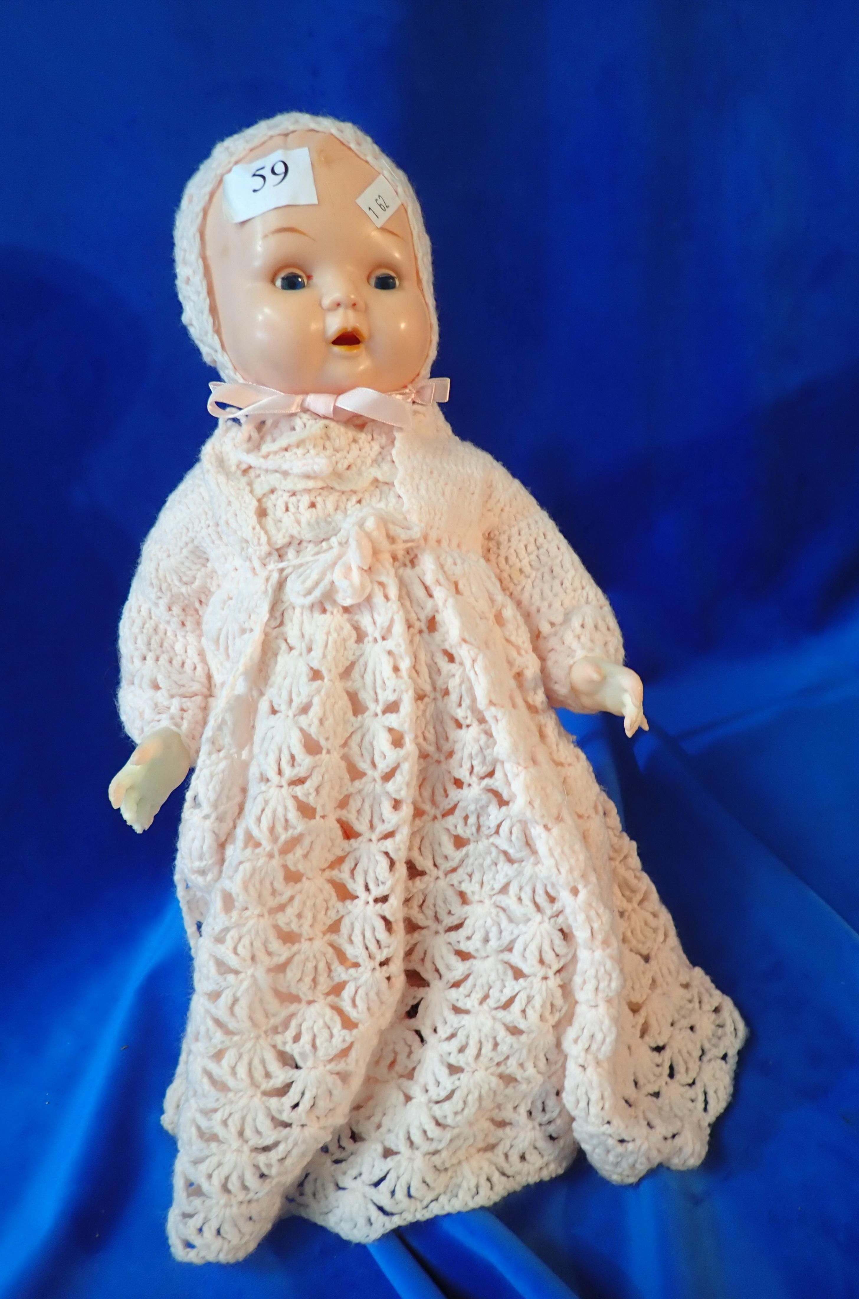 """15"""" OK KADER CELLULOID DOLL - B3516 1/2 BH - SOME DISCOLOURATION TO HANDS - MOVEABLE EYES AND TONGUE"""