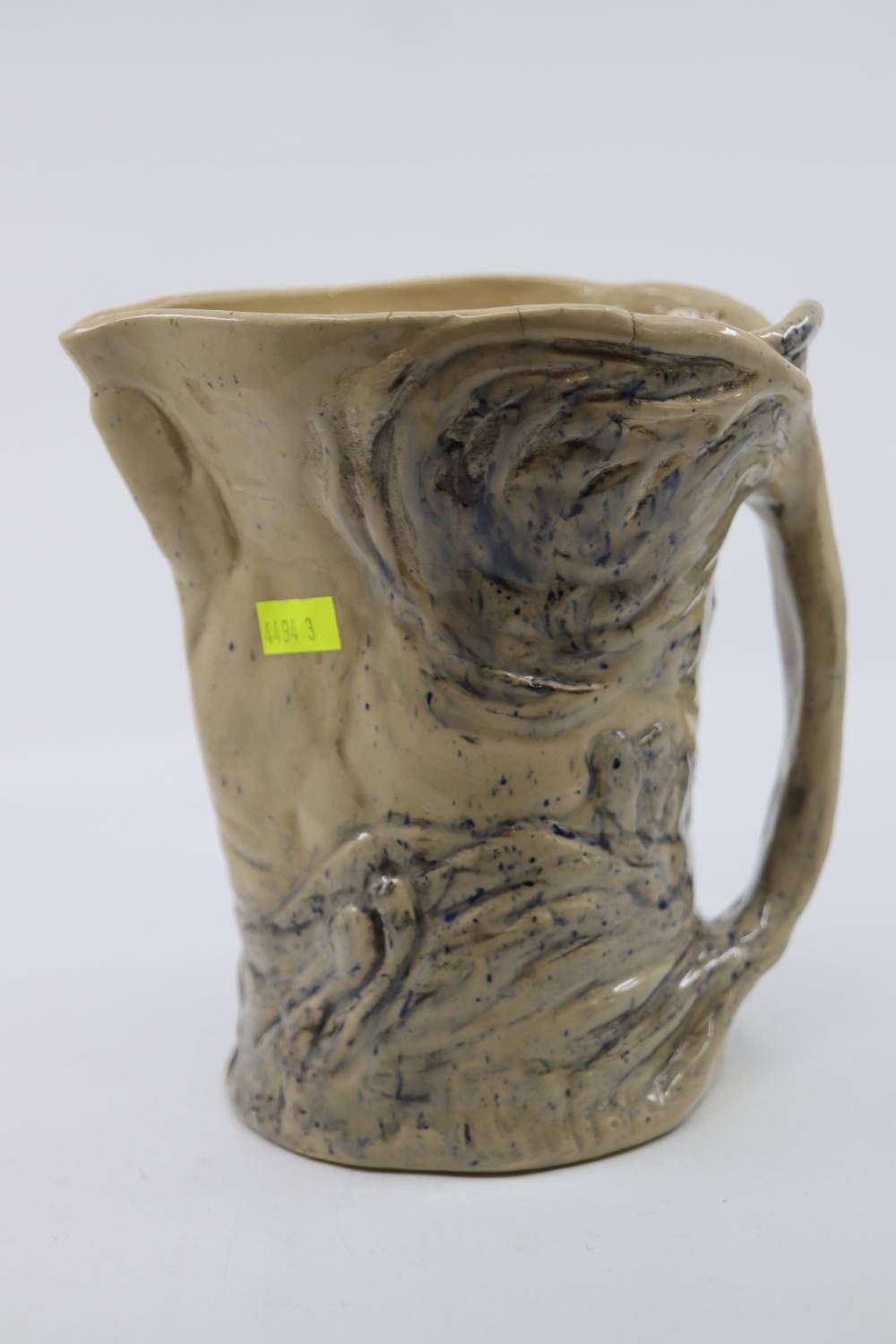 LARGE SIGNED MERRICK BOYD JUG WITH TREE TRUNK FORM 19 CM H