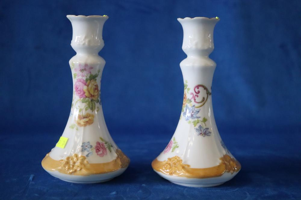 LIMOGES HERMITAGE FRANCE RARE PAIR OF VINTAGE HAND PAINTED FLORAL CANDLE HOLDERS