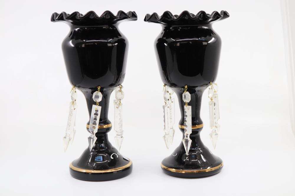 PAIR OF MARY GREGORY BLACK LUSTRE'S