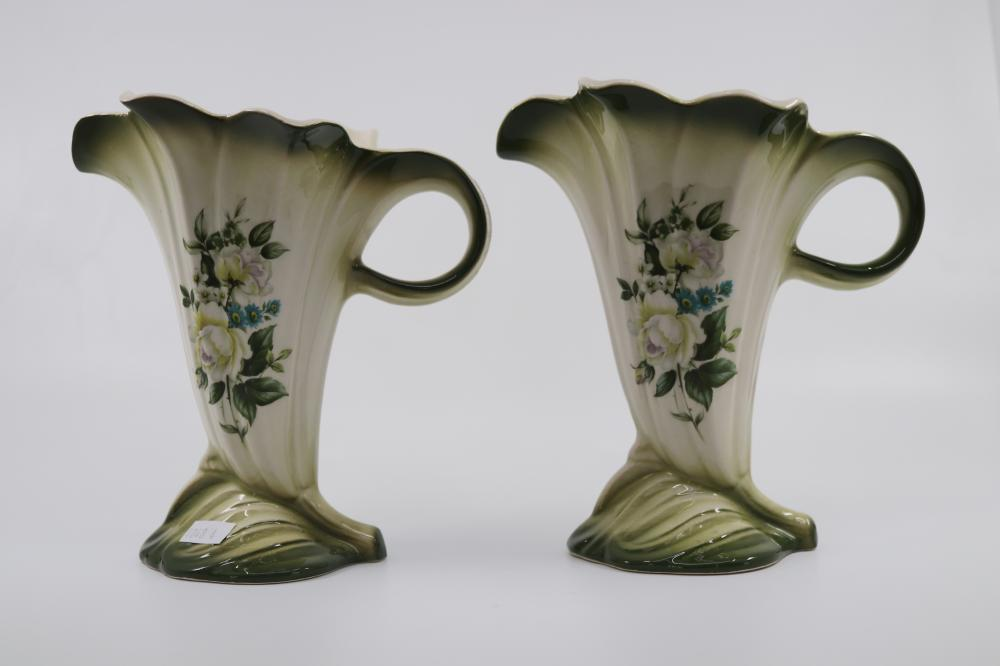 PAIR OF ROCKINGHAM WHITE FLARED ENGLISH JUG VASES ( APPROX 18 CM TALL X 17CM WIDE EACH)