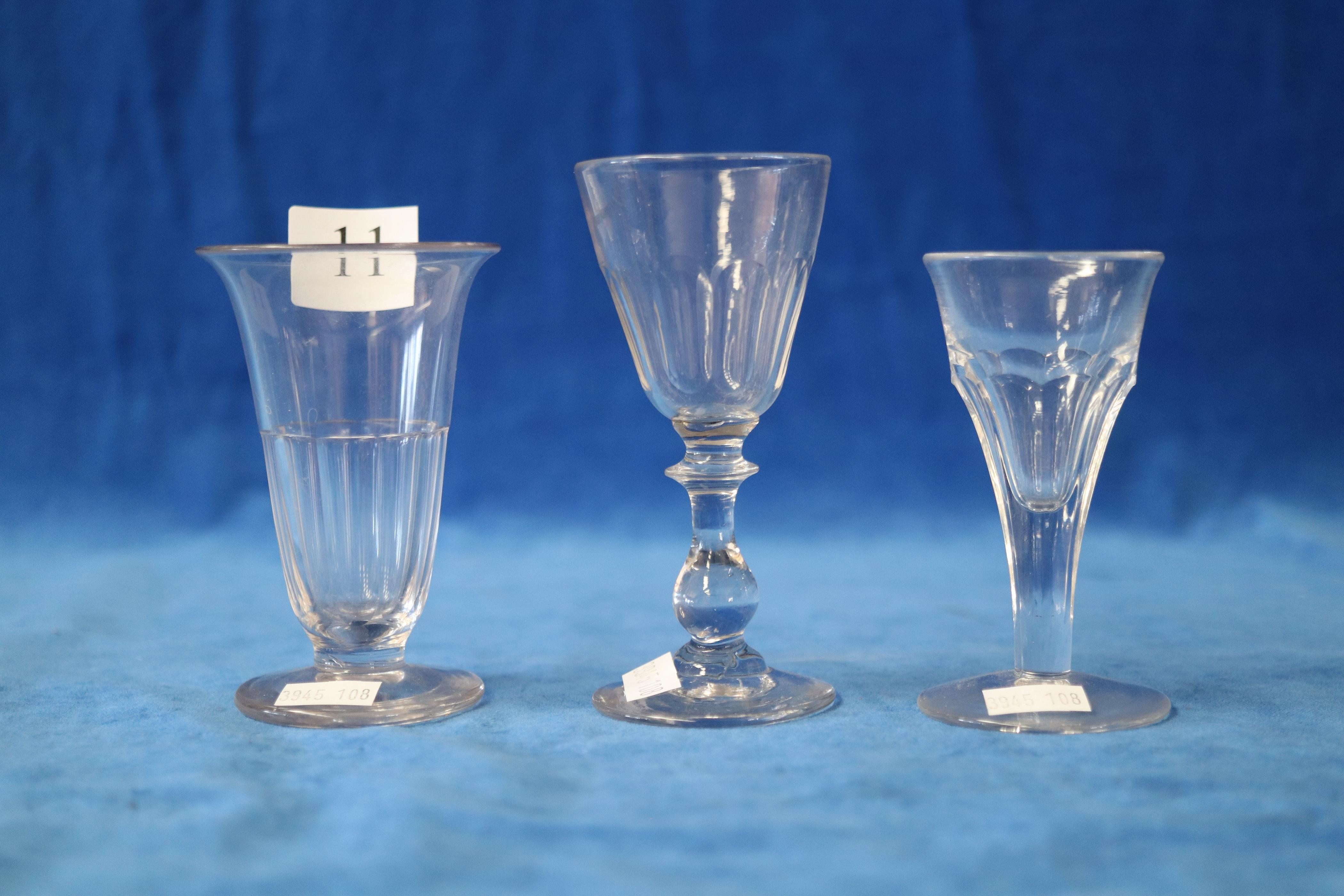 3 X VICTORIAN PENNY LICK GLASSES, ASSORTED SIZES AND PATTERNS