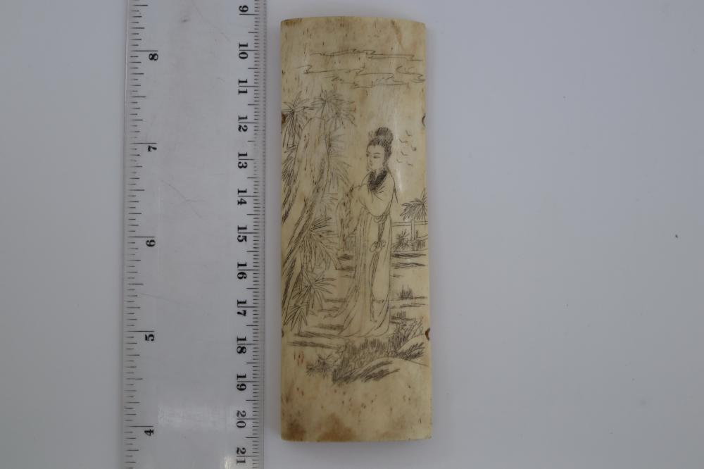 3 CHINESE INCISED BONE PIECES C1930'S