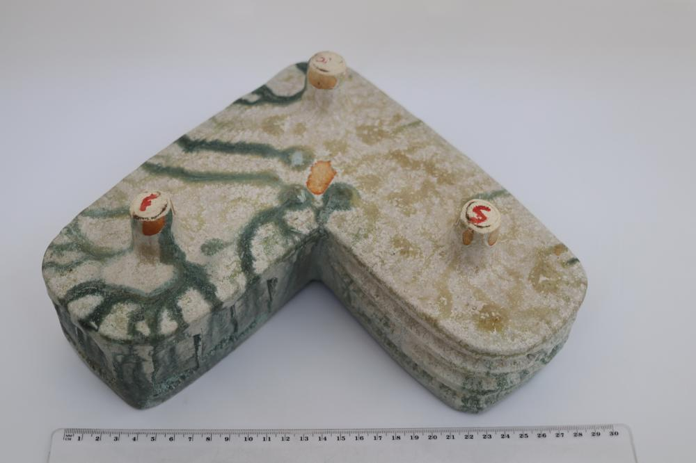 GREEN POTTERY IKEBANA TROUGH VASE ON 2 LEGS , JAPAN 43CM W ,10 CM D & 12 CM H & GREEN POTTERY IKEBANA TROUGH VASE ON 3 LEGS 22 CM D,22CM W, 10 CM H
