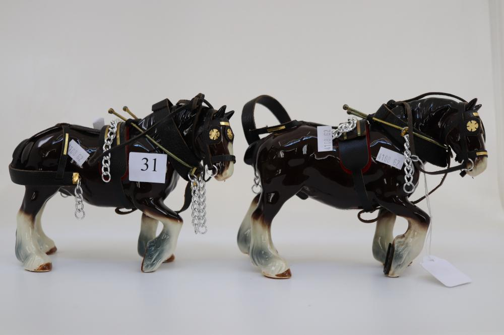 PAIR OF MELWOOD POTTERY HORSE FIGURES