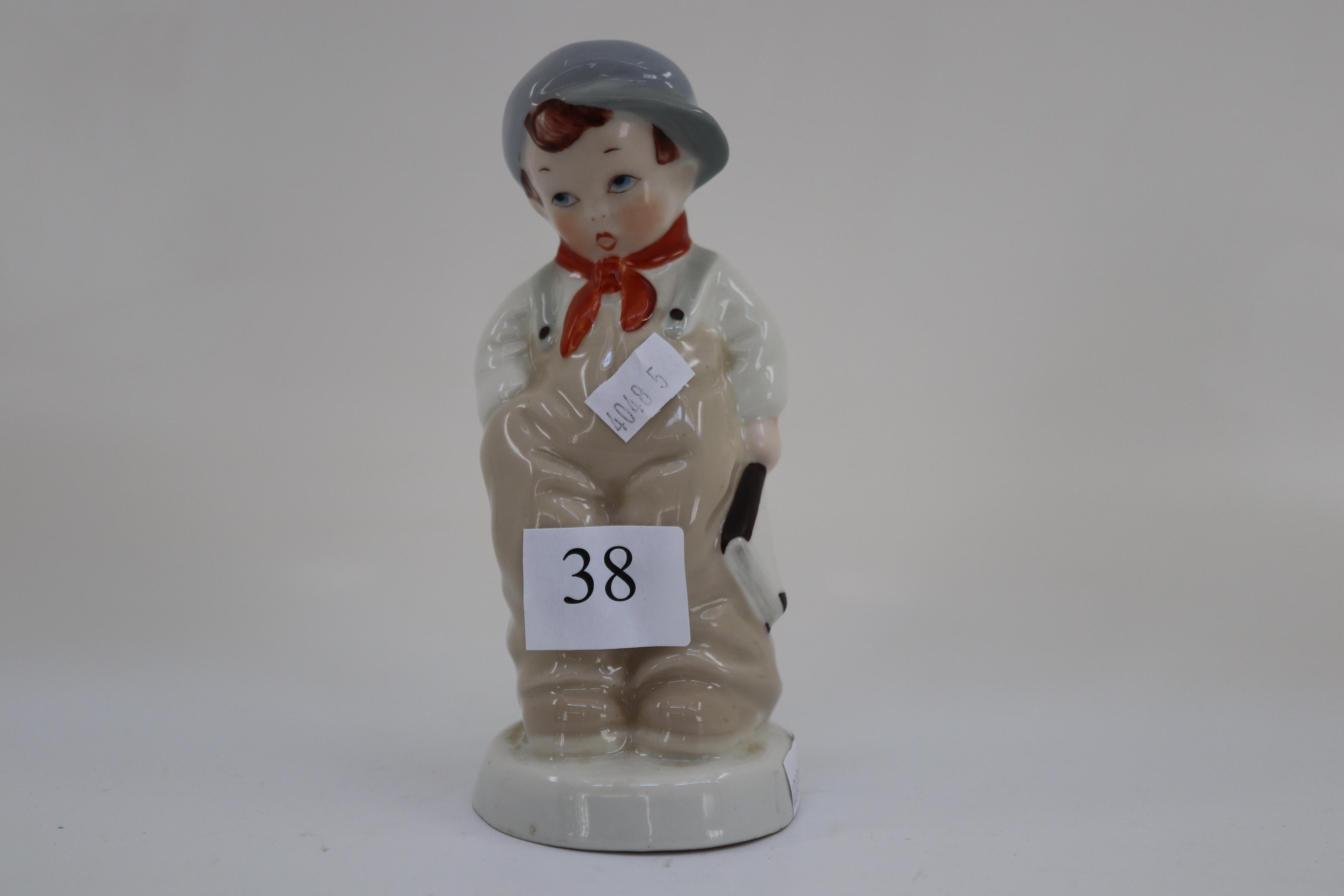 ROYAL DUX FIGURINE OF CONTRITE YOUNG BOY WITH HIS BOOK ( APPROX 16 CM TALL X 7CM WIDE)