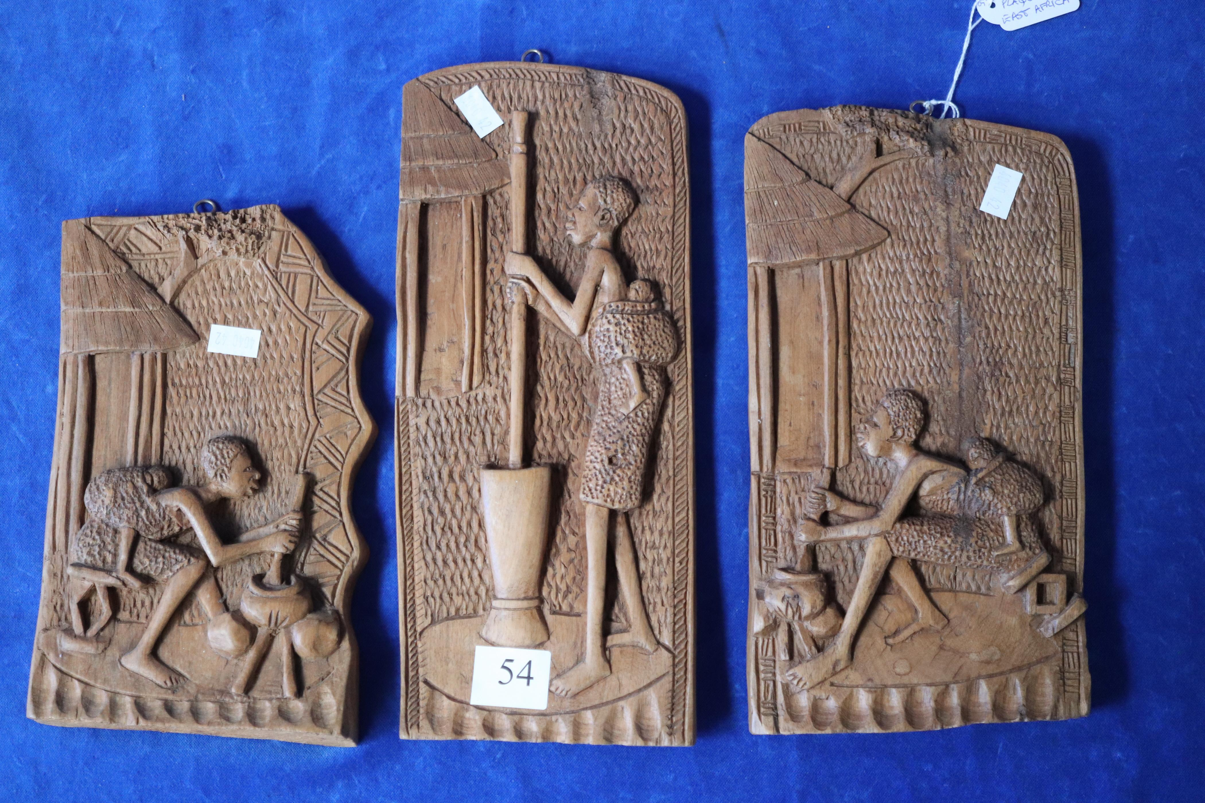 3 TRIBAL WOOD CARVING PLAQUES EAST AFRICA