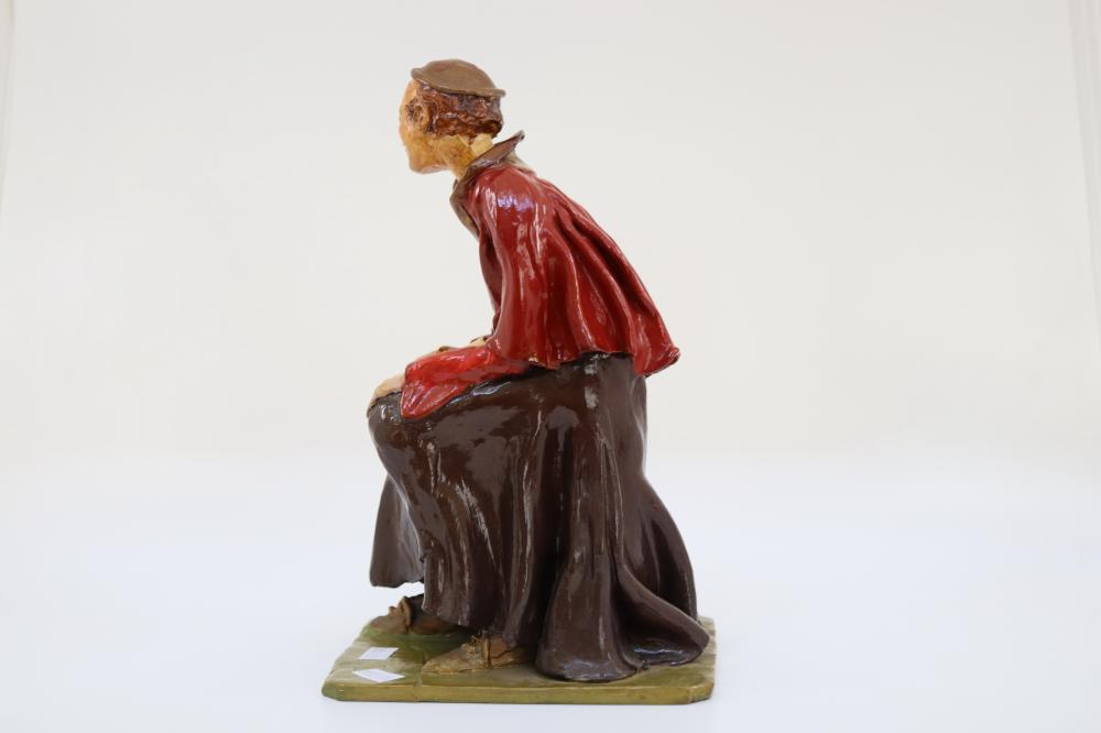 1938 FIGURE SIGNED BY ARNOLT POTTERY - AUSTRALIAN LISTED - ARTIST HUNT - 25CM THE LEARNED MONK BEEN REPAIRED