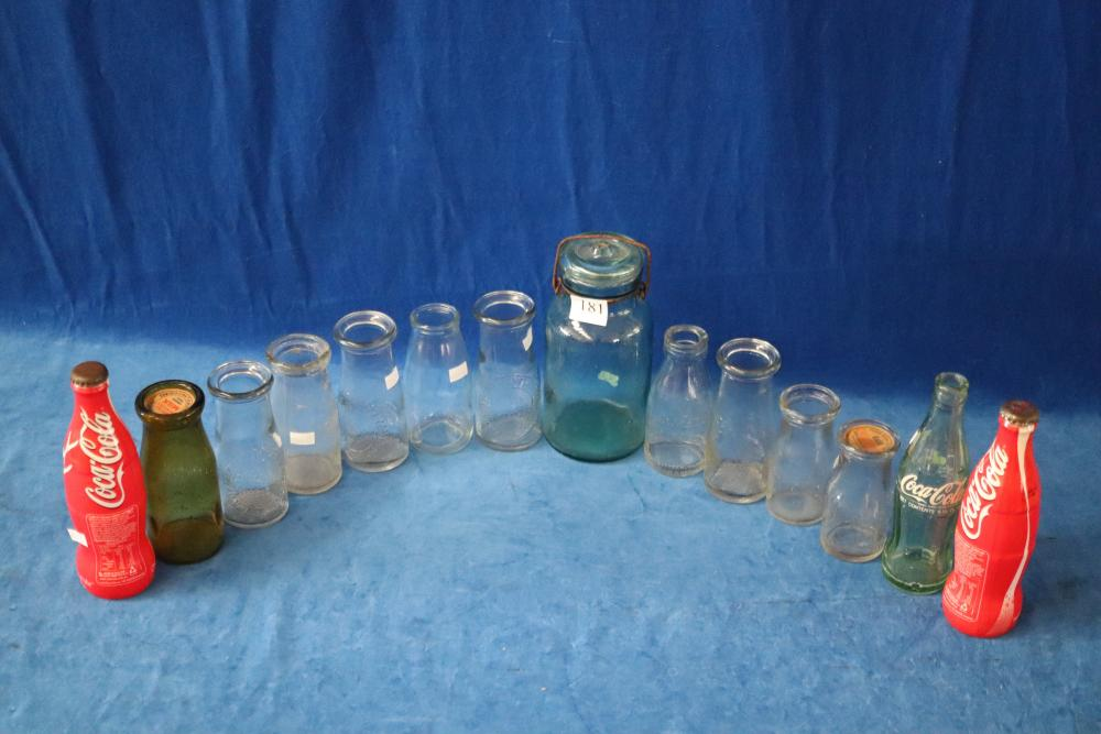 3 COKE BOTTLES AND LOT OF MISC MILK BOTTLES & GLASS JAR