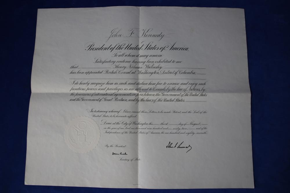 APPOINTMENT TO OFFICE DOCUMENT, SIGNED BY JOHN F KENNEDY (PRESIDENT OF USA) AND DEAN RUSK (SECRETARY OF STATE) 03/08/1962, SIGNED IN BLACK PEN, A3 SIZED CERTIFICATE WITH PRESIDENTIAL SEAL, CERTIFICATE OF AUTHENTICITY FROM AMAONINE - 100324