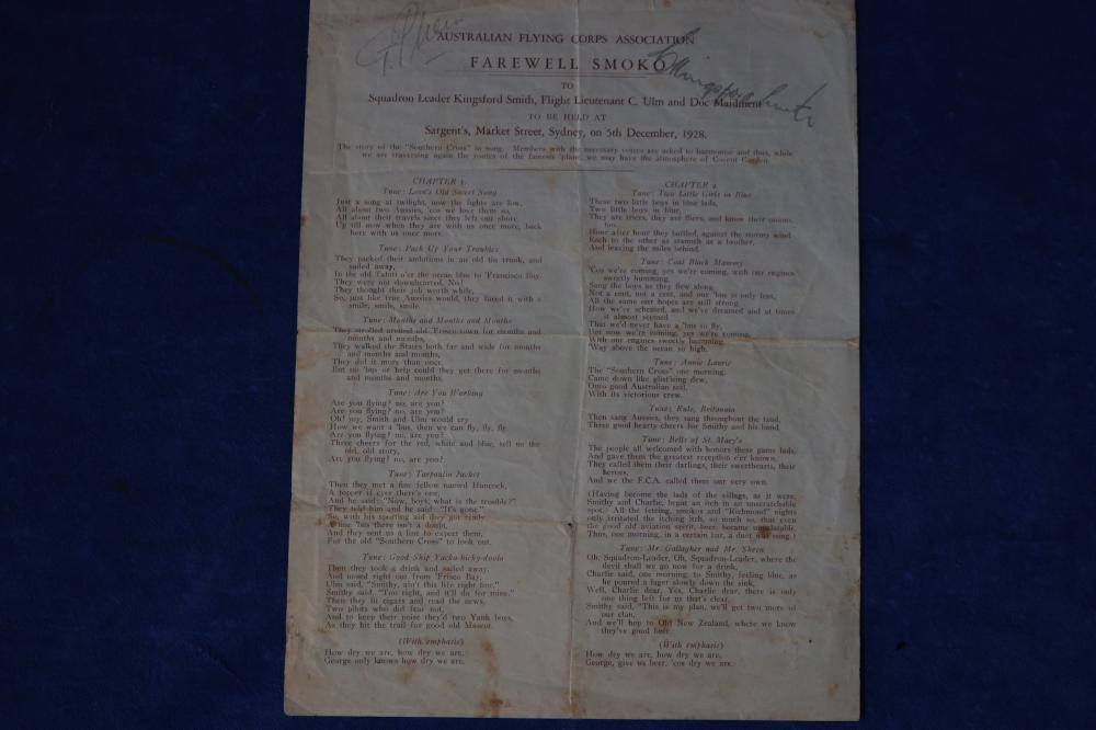 SIGNED SONG SHEET, FAREWELL SMOKO, 5TH DECEMBER 1928, SIGNED BY SIR CHARLES KINGSFORD SMITH AND CHARLES THOMAS ULM, CERTIFICATE OF AUTHENTICITY FROM AMAONLINE 100116, SIGNED WITH AVIATION PENCIL