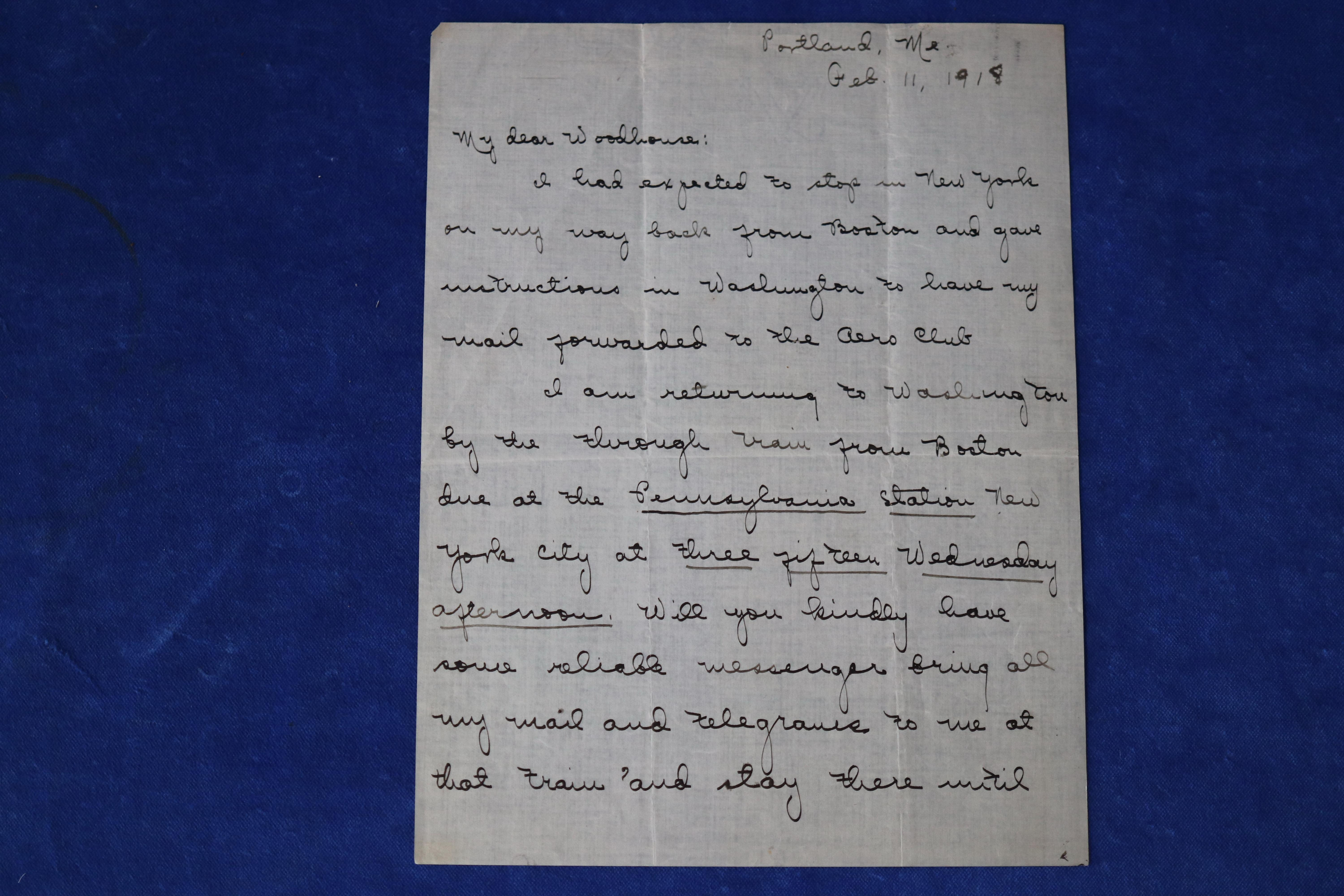 HAND-WRITTEN LETTER, SIGNED ROBERT E. PEARY, WRITTEN FEB 11 1918 IN BLACK FOUNTAIN PEN, CERTIFICATE OF AUTHENTICITY 100119