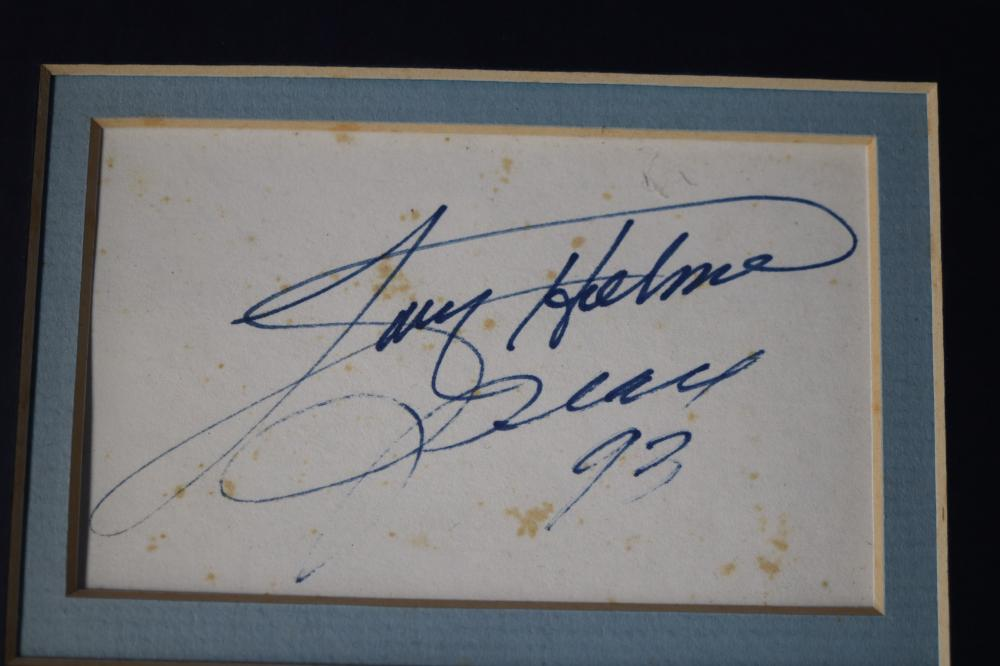 SIGNATURES, LARRY HOLMES (1993) AND GERRY COONEY, SEPARATE WITH PHOTO SCHENE OF THEIR 1982 FIGHT (SIGNATURES UNVERIFIED)