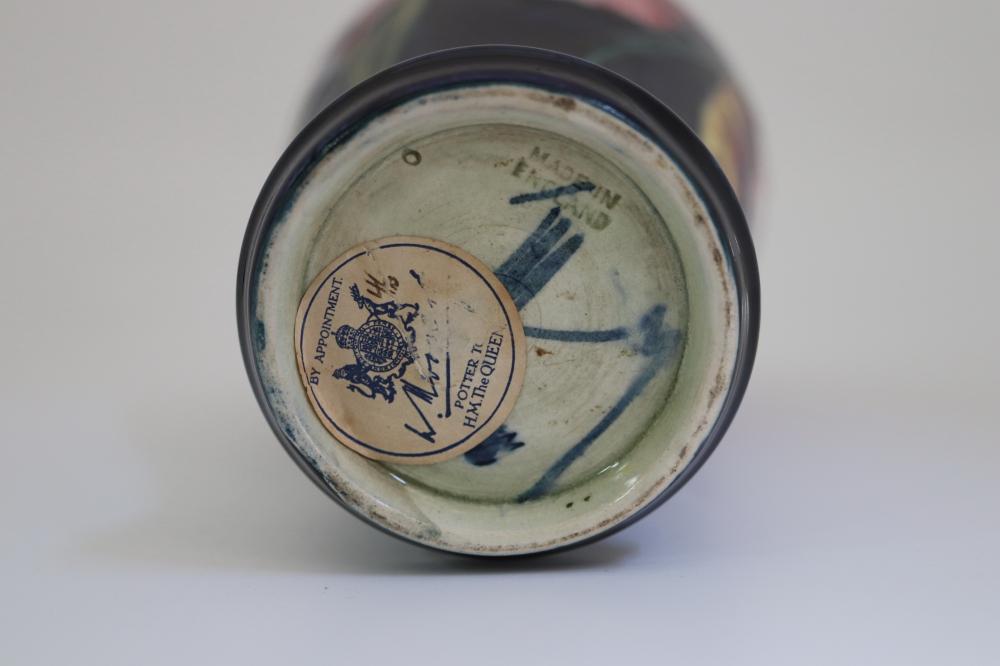 WILLIAM MOORCROFT ORCHID VASE C1930'S ( RIM REPAIR)