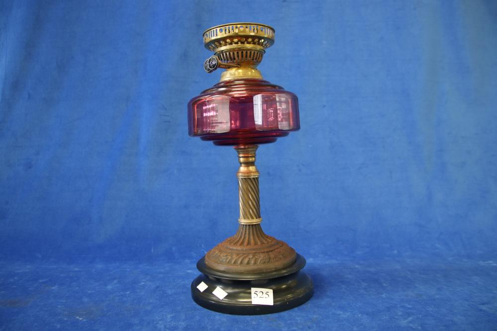 RUBY GLASS OIL LAMP