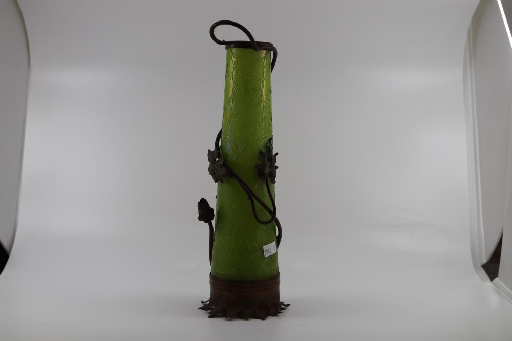 ART NOUVEAU GREEN GLASS VASE ( LOETZ) WITH COPPER FLORAL DECORATOR OVERLAYS