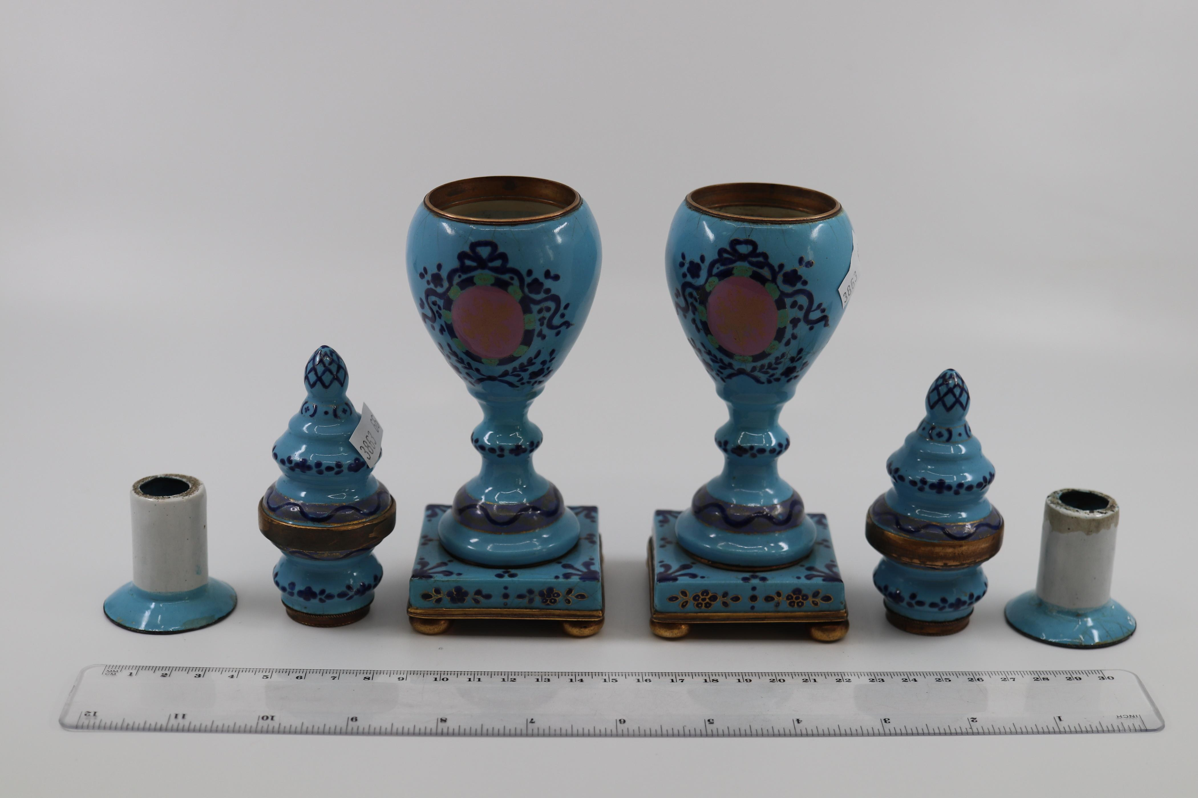 PAIR OF LATE 18TH /EARLY 19TH CENTURY ENGLISH SOUTH STAFFORDSHIRE BLUE ENAMEL CASSOLETTES INVERTED BAULSTER FORM WITH REVERSIBLE VASE/CANDLEHOLDERS ( SOME DAMAGES)