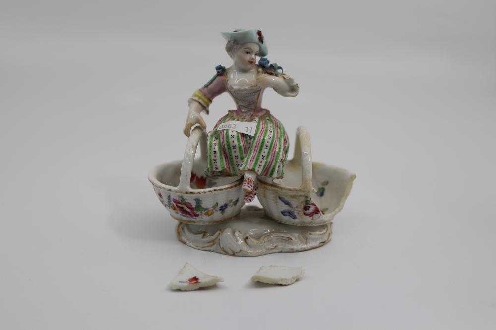 PAIR OF EARLY MEISSEN FIGURES & BASKETS AS FOUND