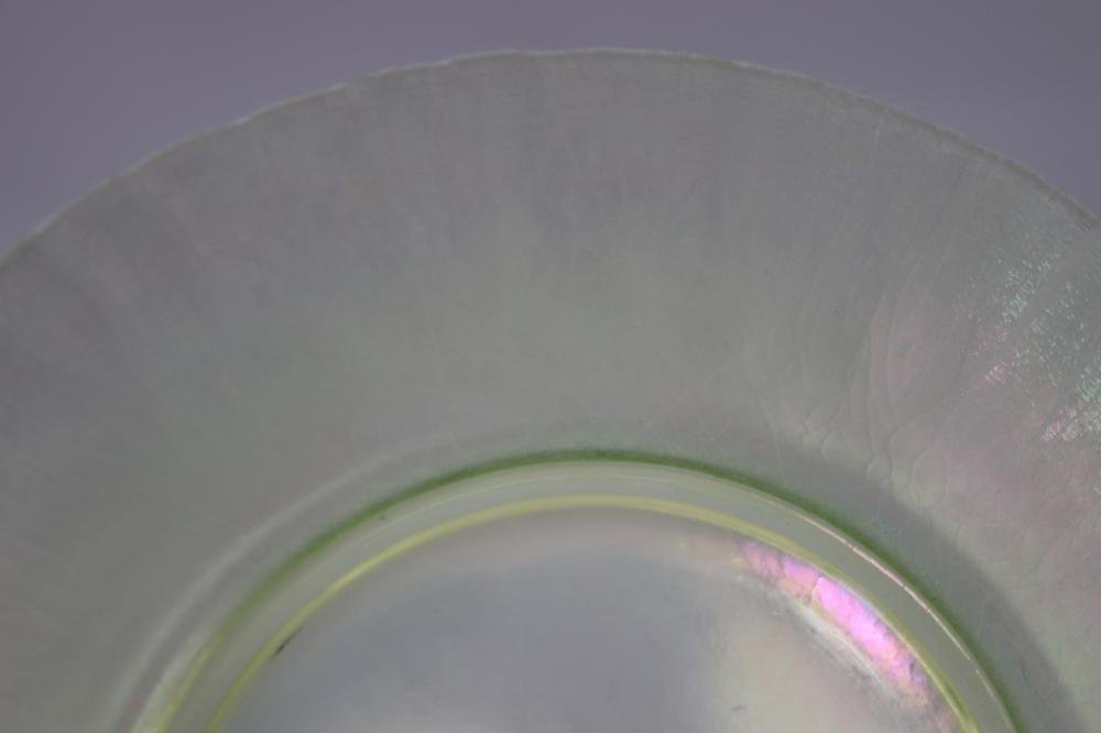 UNMARKED TIFFANY FAVRILE GLASS PLATE ( MINOR DAMAGES)