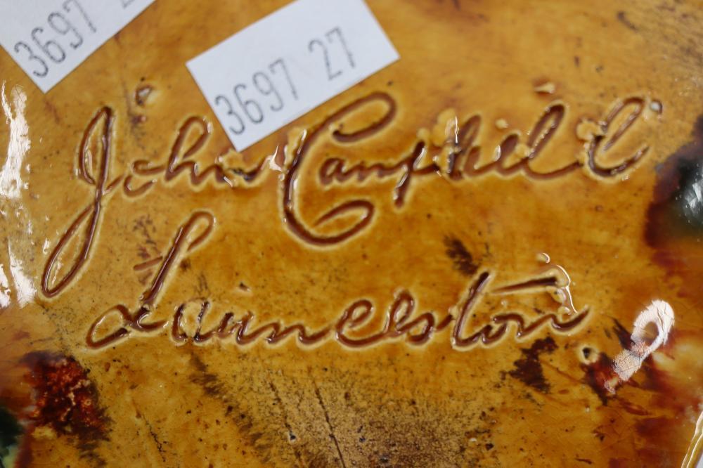 JOHN CAMPBELL POTTERY PIECE TASMANIA CHIP TO GLAZE