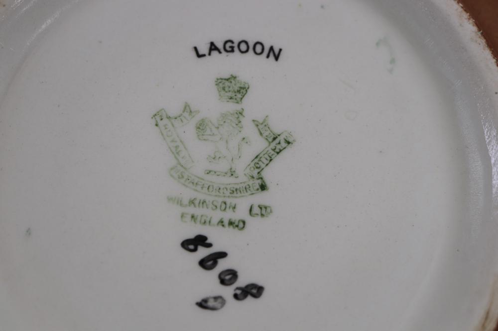 WILKINSON LTD ENGLAND LAGOON HEXAGONAL BOWL ATTRIBUTED TO JOHN BUTLER