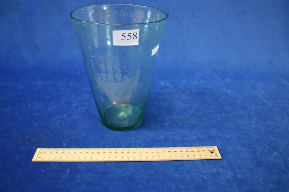 LARGE GREEN GLASS VASE WITH SAILING BOAT CLIPPER MARK TO BASE