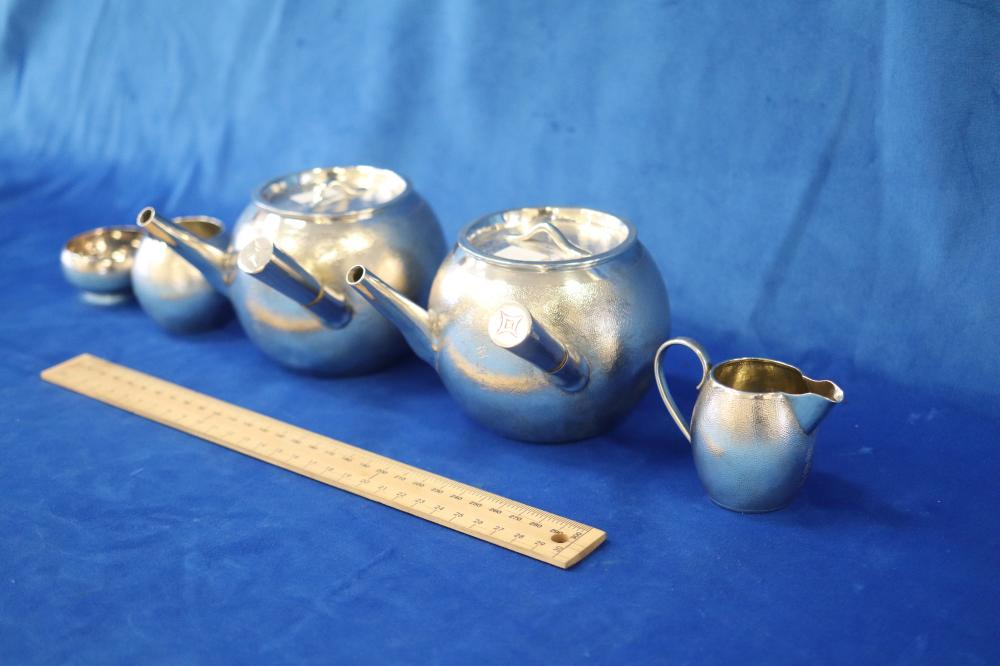 5 PIECE CHINESE EXPORT WARE SILVER TEA AND COFFEE SET, BAMBOO STYLE, SIGNED BELOW, COMPRISES, TEA AND COFFEE POTS, SUGAR, CREAMER, MILK JUG WITH INSCRIBED WRITING, 780 GRAMS TOTAL WEIGHT