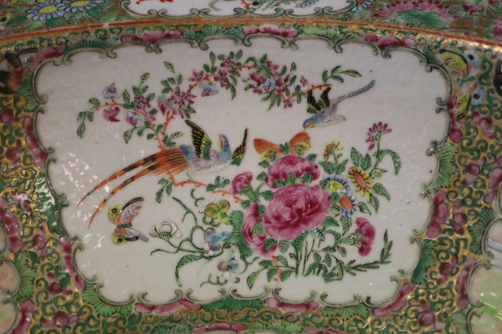 19TH CENTURY CHINESE LARGE PORCELAIN WASH BOWL, ROSE MANDARIN PATTERN,48CM DIAM X 15CM H,