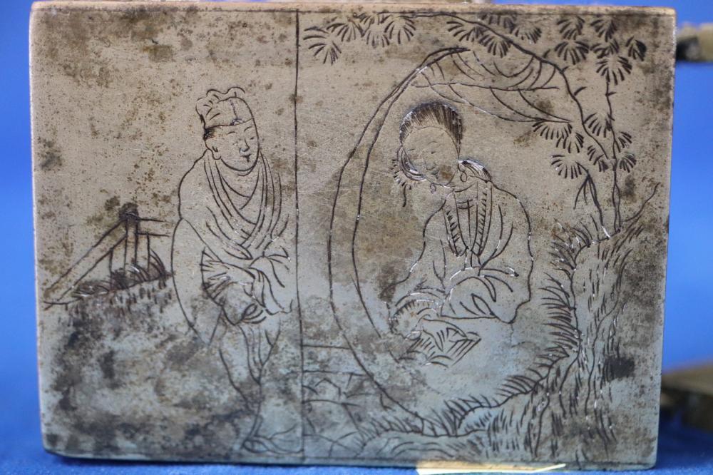 LATE 19TH CENTURY CHINESE WHITE METAL BRONZE SCHOLARS WATER DROP POT
