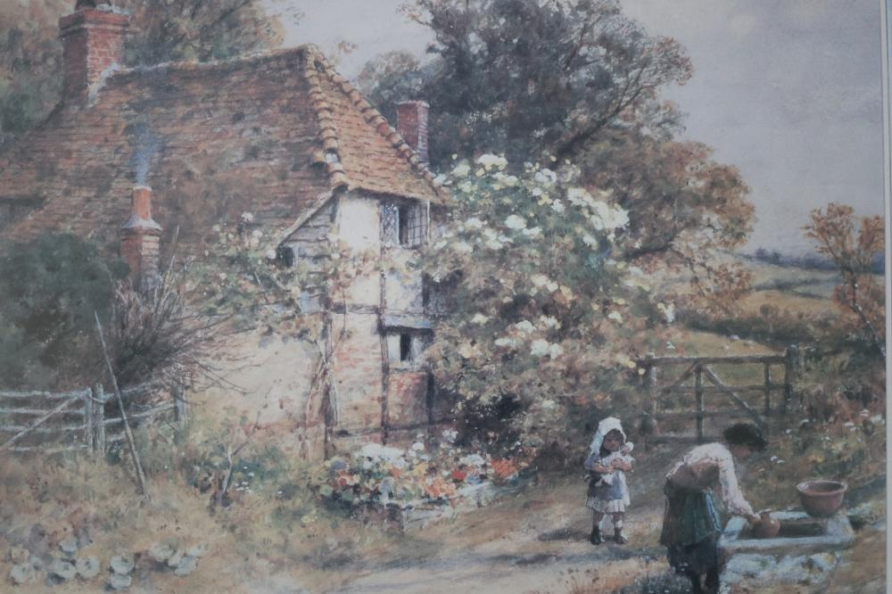 PRINT W S COLMAN'S 1842 PAINTING TITLED AT THE COTTAGE WELL