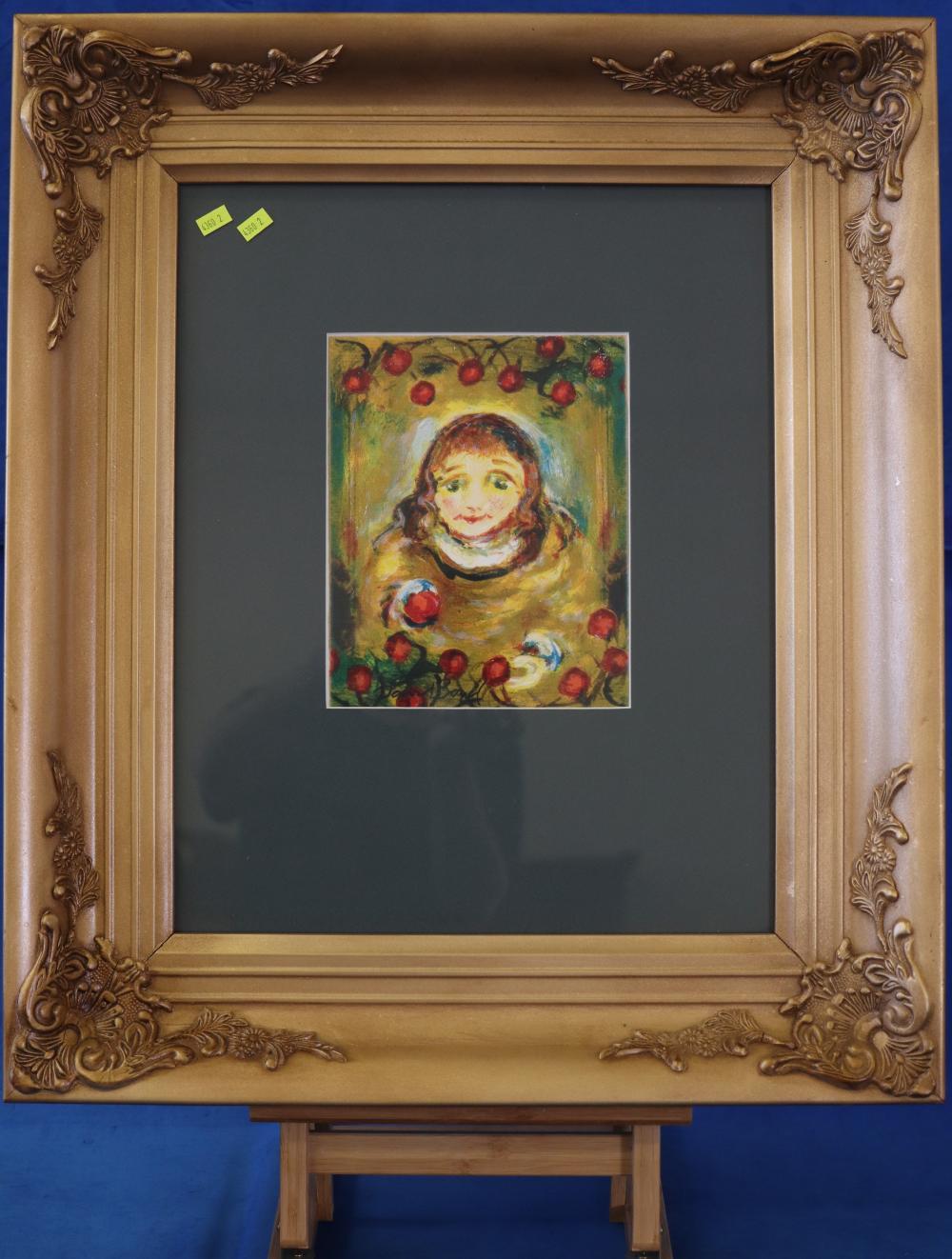 ORIGINAL DAVID BOYD SCREEN PRINT OF GIRL NICELY FRAMED, 20 X 26CM