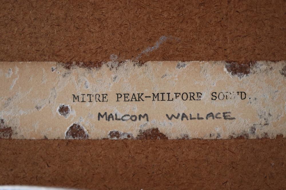 MALCOLM WALLACE OIL ON BOARD MITRE PEAK MILFORD SOUND