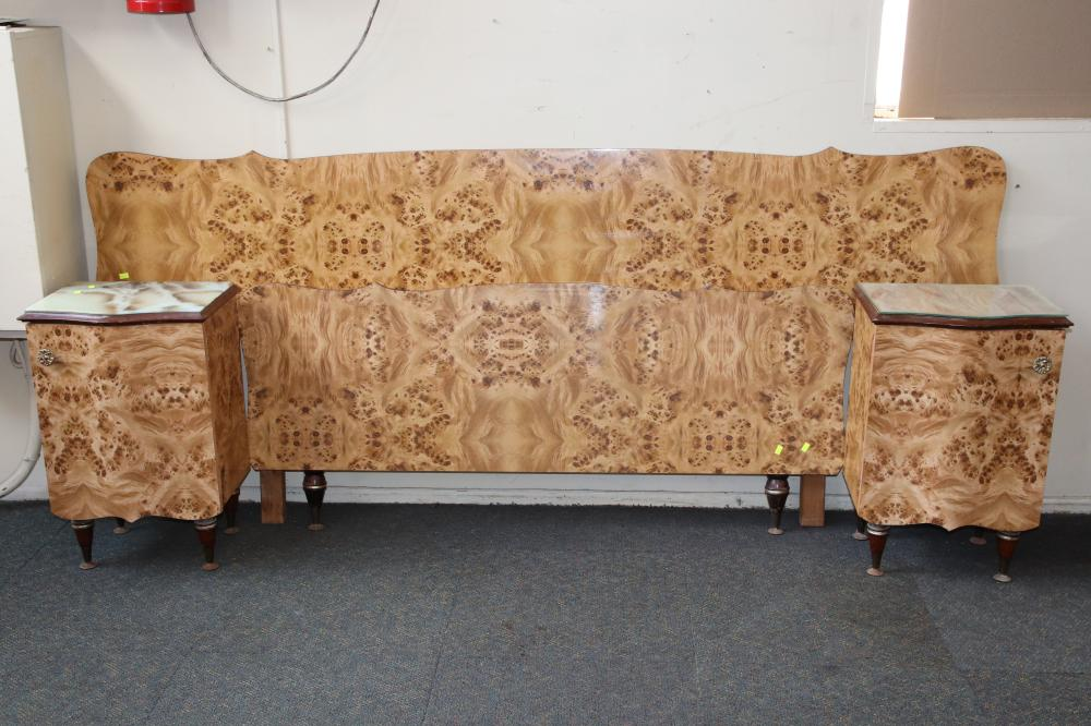 FAUX WALNUT BEDROOM SET INCL LARGE WARDROBE , BEDHEAD ,BEDSIDE TABLES & DRESSING TABLE AS FOUND