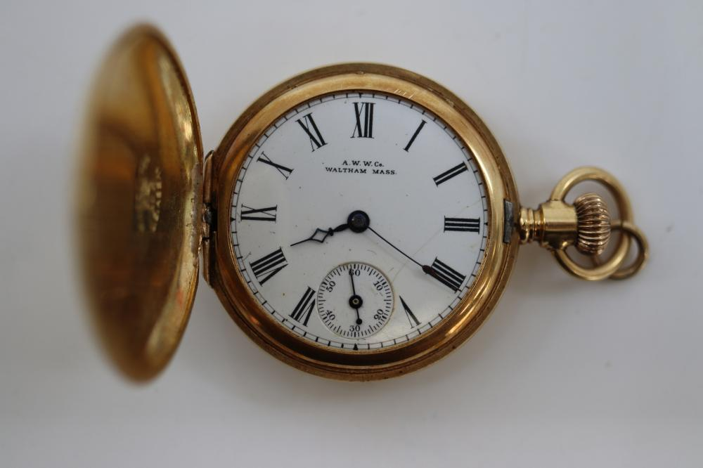 18CT YELLOW GOLD CASED FOB WATCH, WALTHAM, NOT WORKING, 38.6 GRAMS