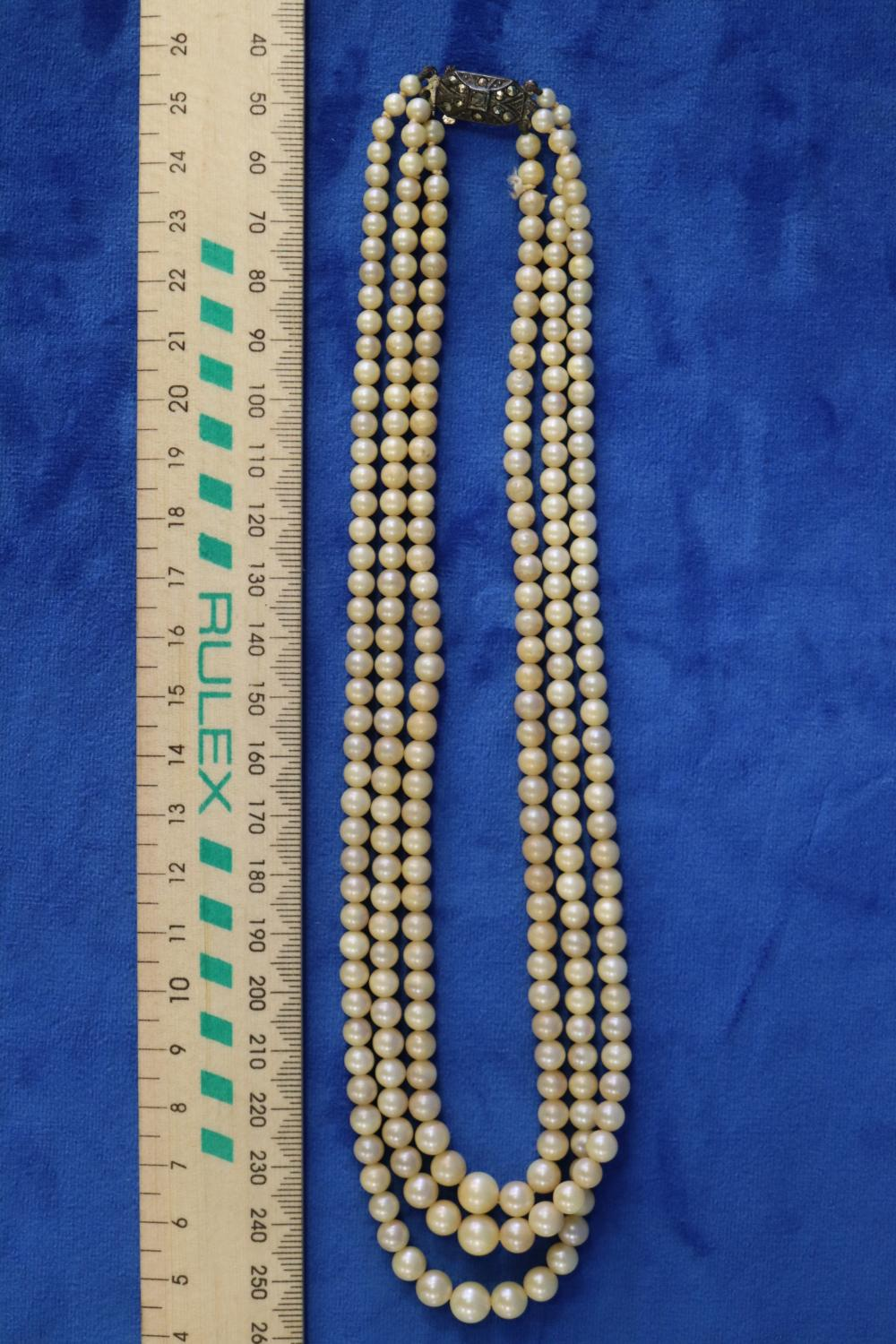 BOXED PEARL NECKLACE WITH STERLING CLASP