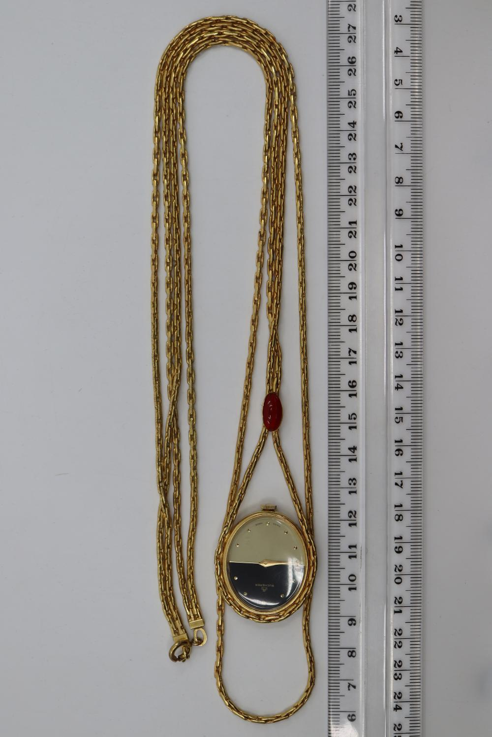 LADIES BUCHERER SWISS MADE WATCH ON A DOUBLE LONG CHAIN IN BLACK CASE
