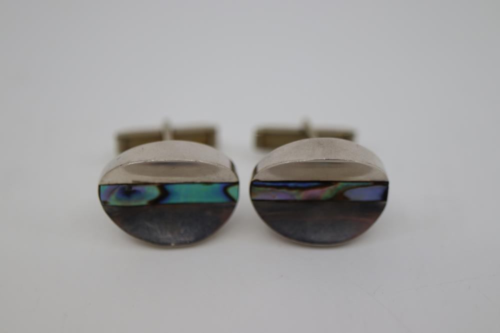 STERLING SILVER CUFFLINKS WITH ABALONE INSERT TAXCO MEXICAN 9 GRAMS