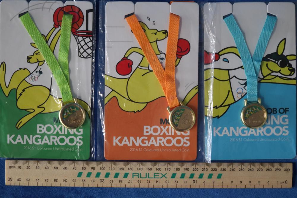 SET 3 BOXING KANGAROO MINT $1 COINS
