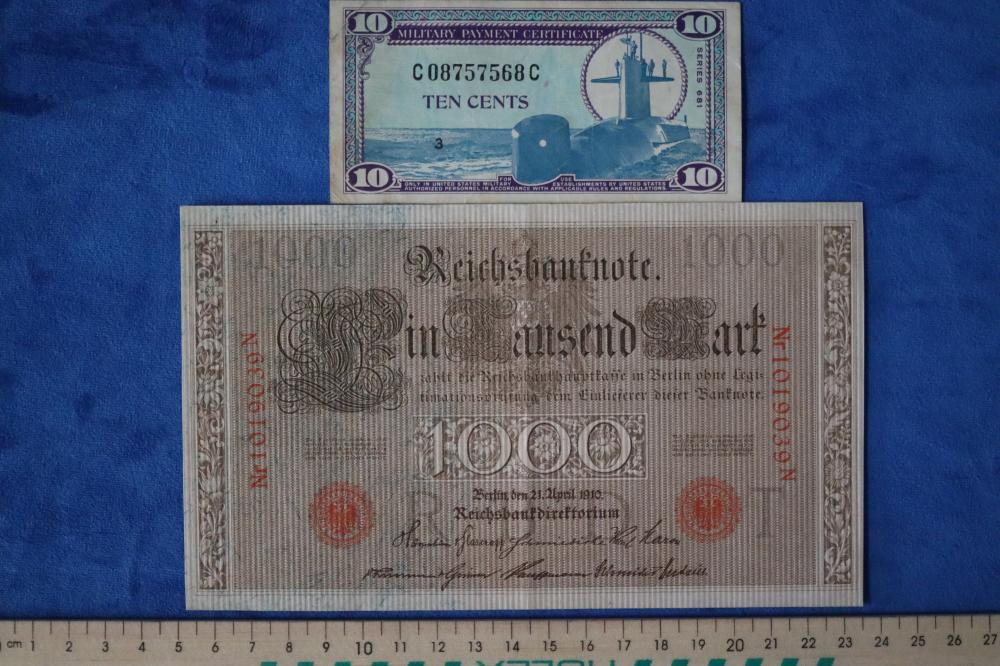 GERMAN 1910 1000 MARKS & USA MILITARY NOTES