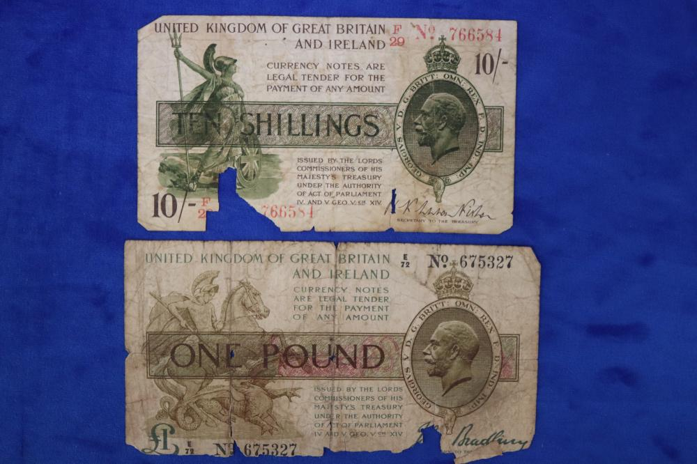 SCARCE BUT FAIR CONDITION GB 1928 10 SHILLING & 1917 POUND NOTES