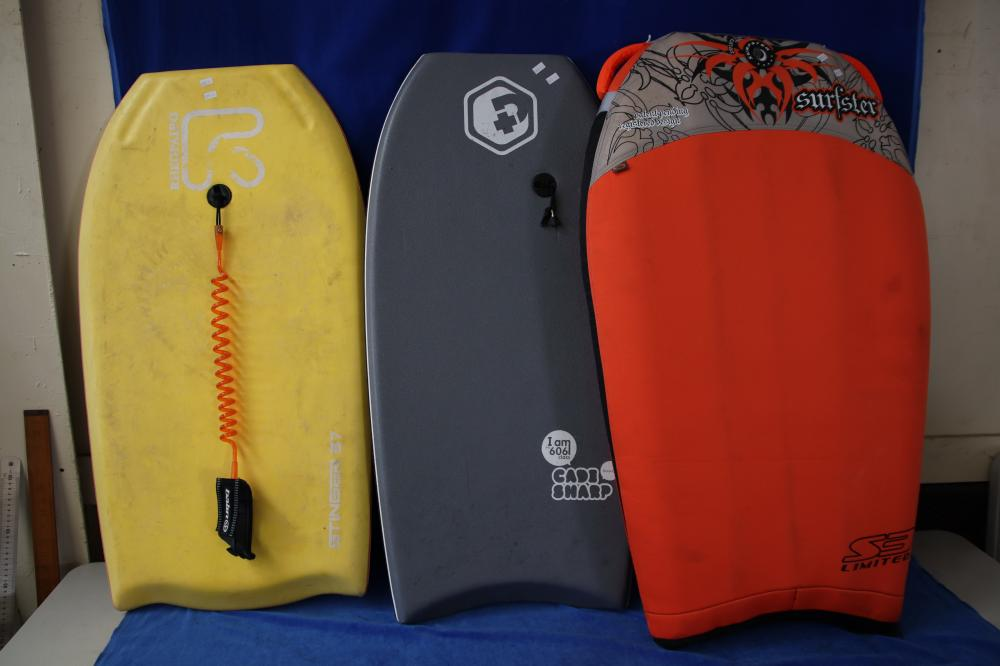 2 BODY BOARDS & A INFLATABLE BODY BOARD