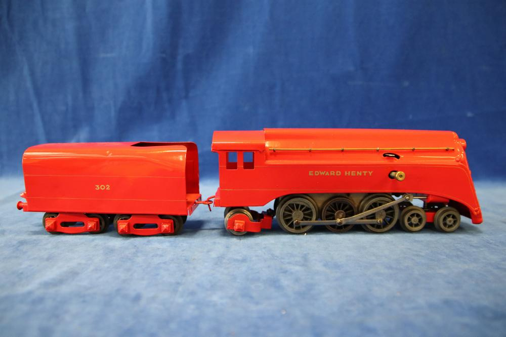 EARLY REPAINTED ROBILT O GAUGE EDWARD HENTY SPIRIT OF PROGRESS LOCOMOTIVE WITH PRESSED BOGIES ON TENDER TESTED RUNS WITH KEY