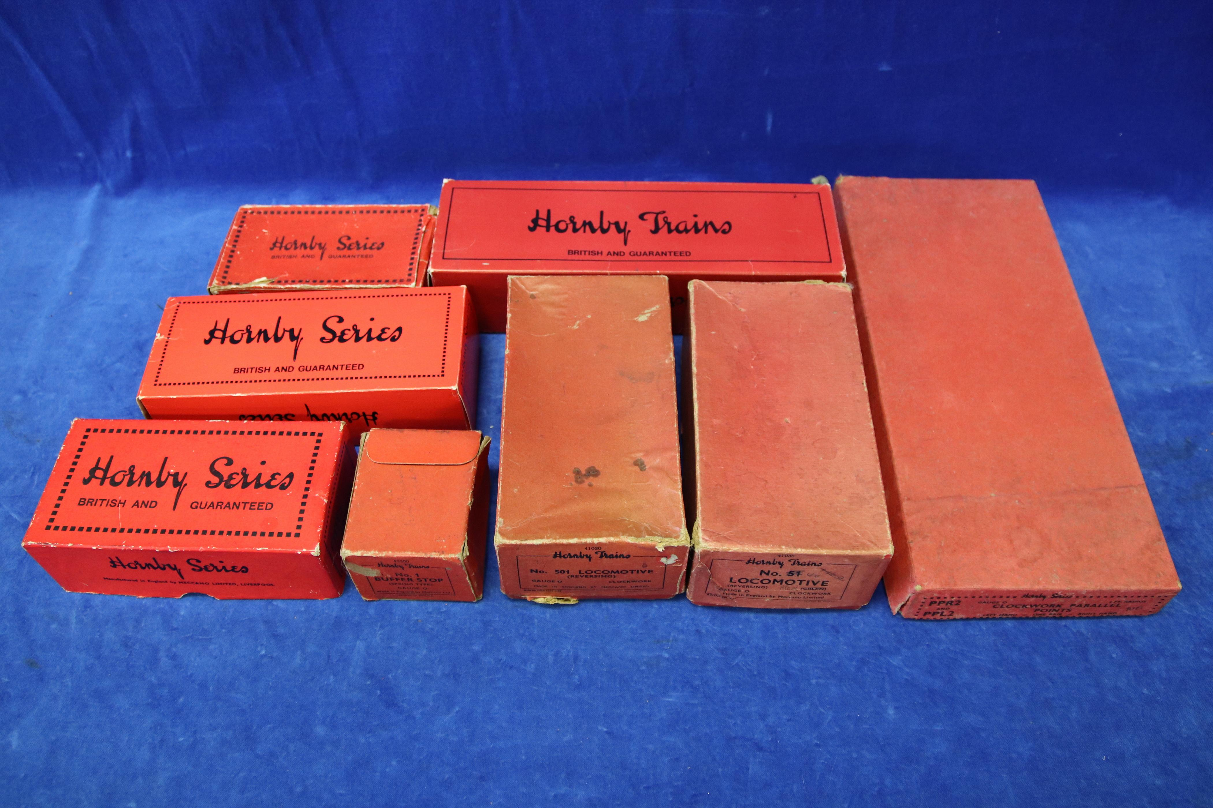 6 EMPTY HORNBY TRAIN BOXES AND 1 EMPTY MECCANO BOX